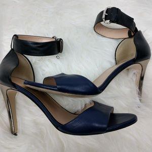 J Crew Blue Black Leather Ankle Strap Heels